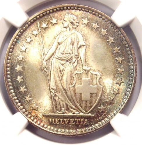 1940-B Switzerland Republic 2 Francs Coin (2 Fr) - NGC MS67 - Rare in MS67 Grade