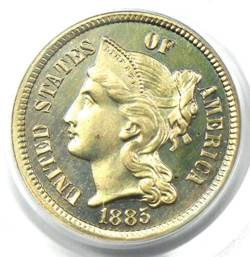 1885 Proof Nickel 3 Cent Coin (3CN) - Certified PCGS PR66 (PF66) - Rare Coin!
