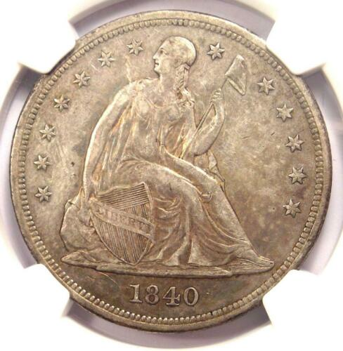 1840 Seated Liberty Silver Dollar $1 - NGC AU Details - Rare Certified Coin!