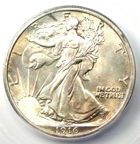 1916 Walking Liberty Half Dollar 50C - ICG MS60 Details (UNC - Uncirculated)