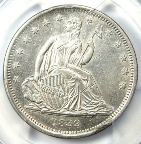 1839 No Drapery Seated Liberty Half Dollar 50C - PCGS AU Details - Rare Variety!