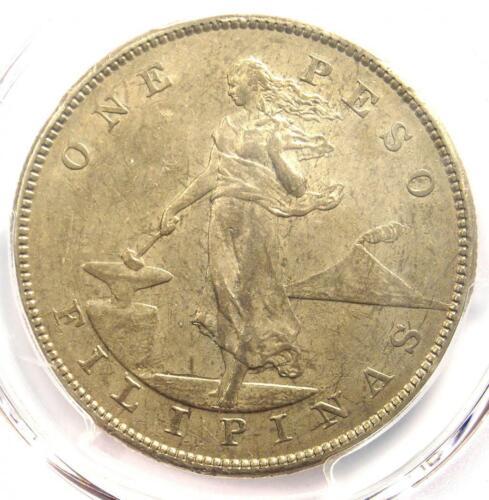 1905-S Philippines Peso 1P - Certified PCGS AU55 - Rare Date - Near MS UNC!