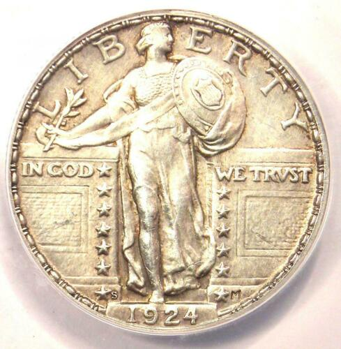 1924-S Standing Liberty Quarter 25C Coin - Certified ANACS MS60 Detail (UNC)!