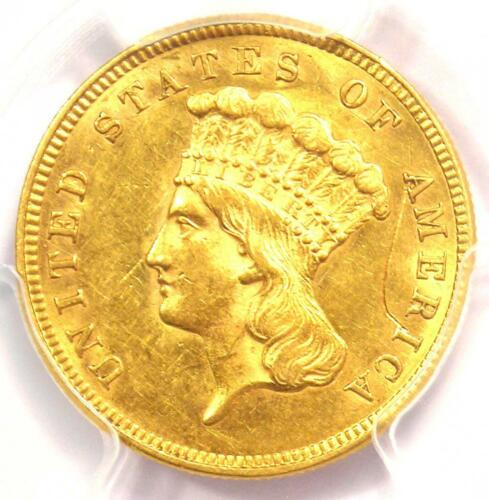 1860 Three Dollar Indian Gold Coin $3 - PCGS Uncirculated Detail (UNC MS) - Rare