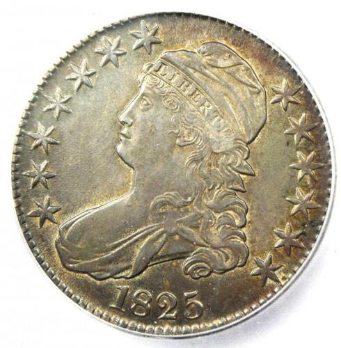 1825 Capped Bust Half Dollar 50C - Certified ICG AU55 - Rare Date Coin!