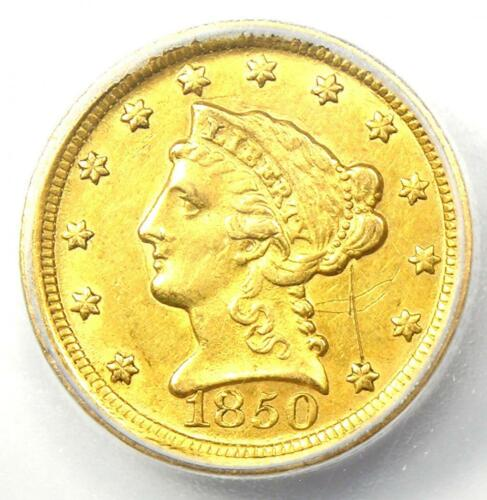 1850-D Liberty Gold Quarter Eagle $2.50 - ICG AU58 Detail - Rare Dahlonega Coin!