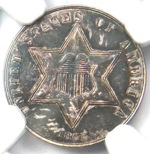 1862 Three Cent Silver Coin 3CS - NGC UNC Details (MS) - Rare Civil War Date!