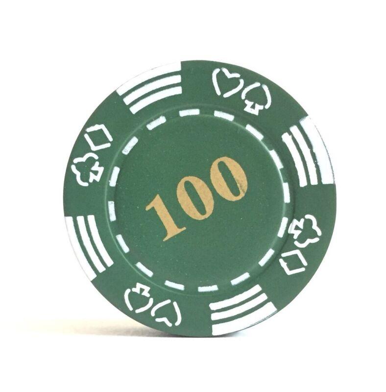 Refillable 100 Poker Chip Butane Cigarette Lighter - Green