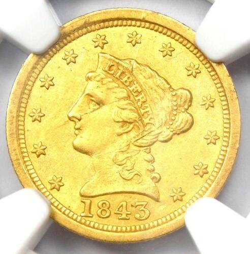 1843-O Large Date Liberty Gold Quarter Eagle $2.50 - NGC UNC Detail (MS)