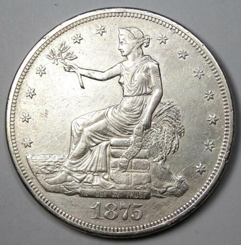 1875-CC Trade Silver Dollar T$1 - AU Details - Rare Carson City Coin!