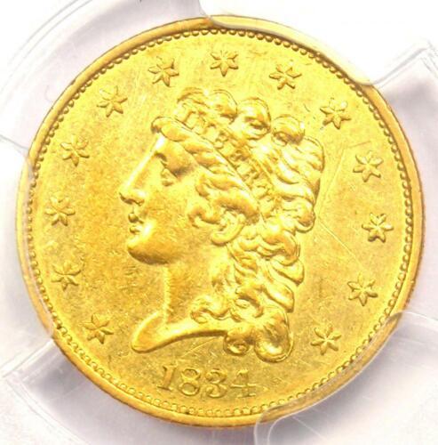 1834 Classic Gold Quarter Eagle $2.50 - Certified PCGS AU Details - Rare Coin!
