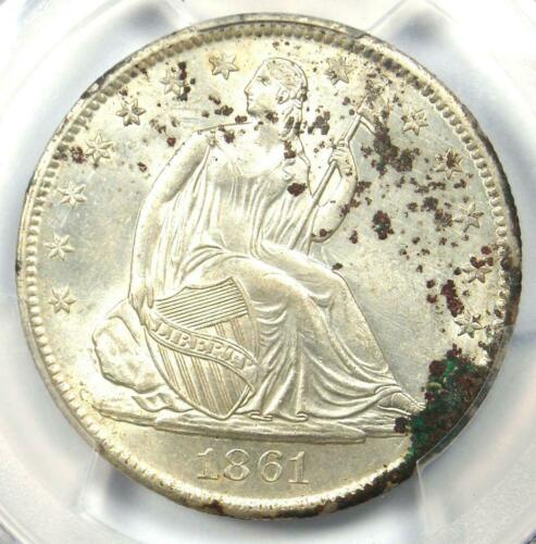 1861-O Seated Liberty Half Dollar 50C Coin - PCGS Uncirculated Details (UNC MS)!