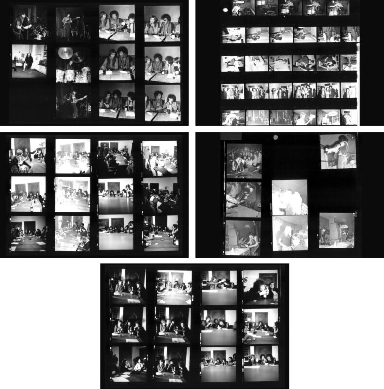 Jimi Hendrix in concert at Star Club 1967, 5 pages photo negative contact sheets