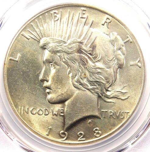 1928 Peace Silver Dollar $1 - PCGS Uncirculated Detail - Rare 1928-P MS UNC Coin