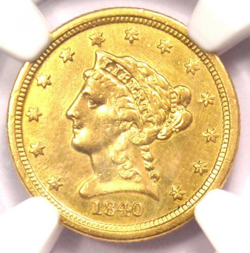 1840-O Liberty Gold Quarter Eagle $2.50 - Certified NGC AU Details - Rare Date!