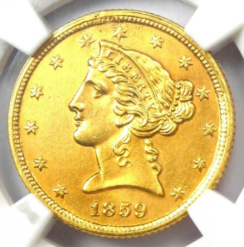 1859-C Liberty Gold Half Eagle $5 - NGC AU Details - Rare Charlotte Gold Coin!