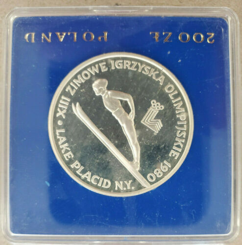 (1) 1980 Poland Olympic Coin .750 Silver 200 Zlotych Commemorative Proof Coin