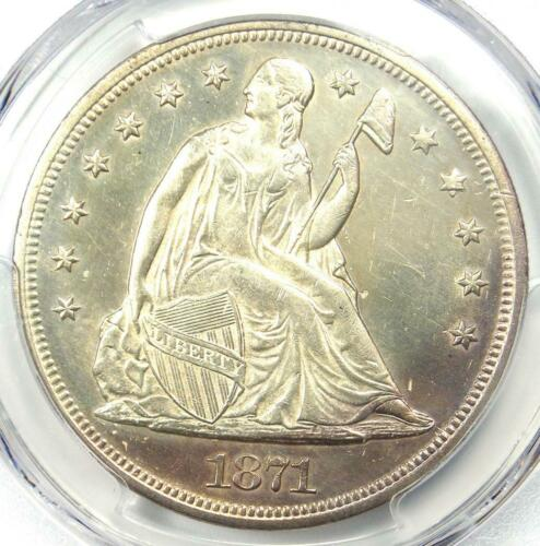 1871 Seated Liberty Silver Dollar $1 - PCGS Uncirculated Detail (UNC MS) - Rare!