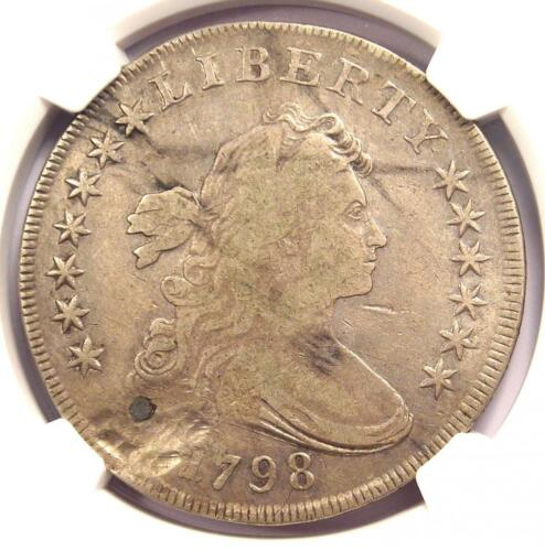 1798 Draped Bust Silver Dollar $1. Certified NGC VF Detail (Plugged) - Rare Coin