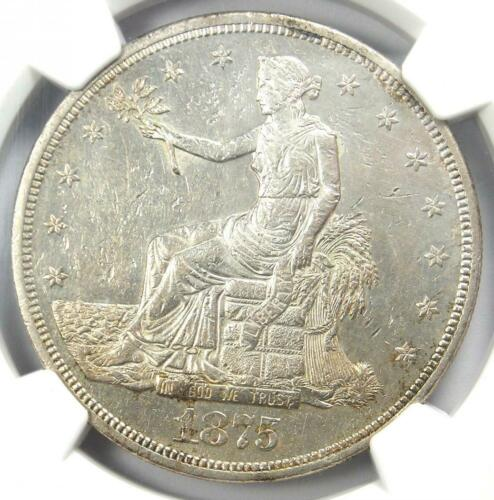 1875-CC Trade Silver Dollar T$1 - Certified NGC Uncirculated Details (MS UNC)