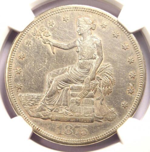 1875-CC Trade Silver Dollar T$1 - NGC AU Details - Rare Carson City Coin!