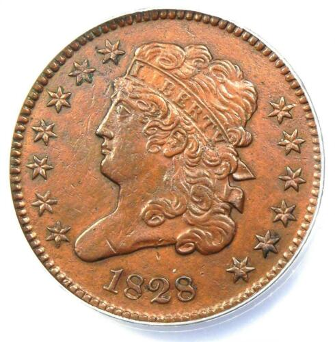 1828 Classic Head Half Cent - Certified ANACS AU53 Details - Rare Early Coin!