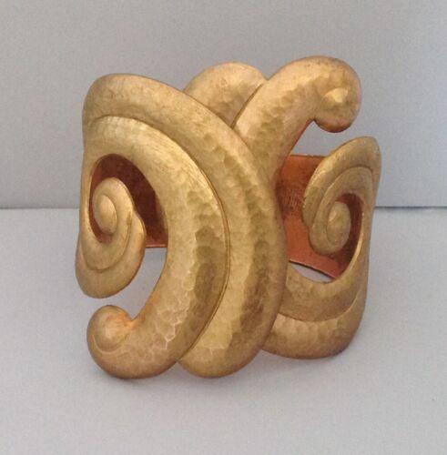 Vintage Barrera Bracelet Etruscan Design Scroll Cuff Hammered Finish Hinged
