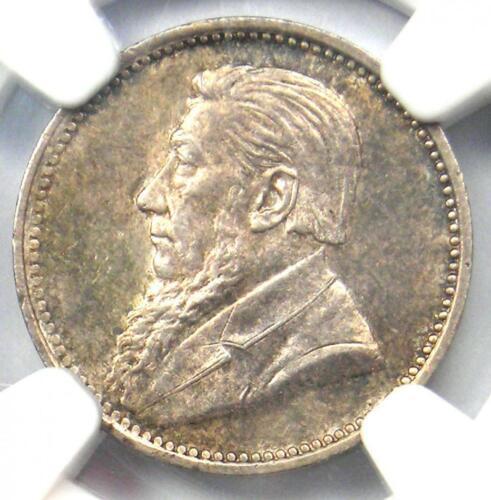 1897 South Africa Threepence (3D) - NGC MS62 - Rare Date BU UNC Zar Coin