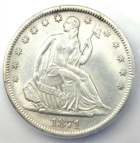 1871-S Seated Liberty Half Dollar 50C - Certified ICG AU53 Details - Rare Coin!