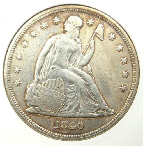 1840 Seated Liberty Silver Dollar $1 - ANACS XF Details - Rare Certified Coin!