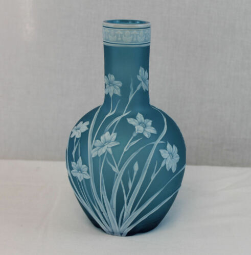 Antique English Cameo Vase – blue teal and white – Thomas Webb