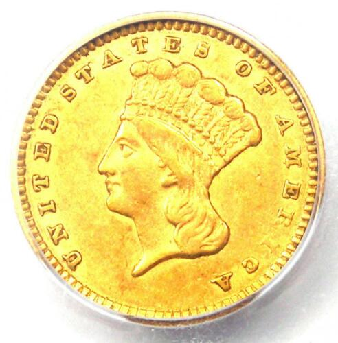 1856 Indian Gold Dollar (G$1 Coin) - Certified ICG AU50 - Rare!