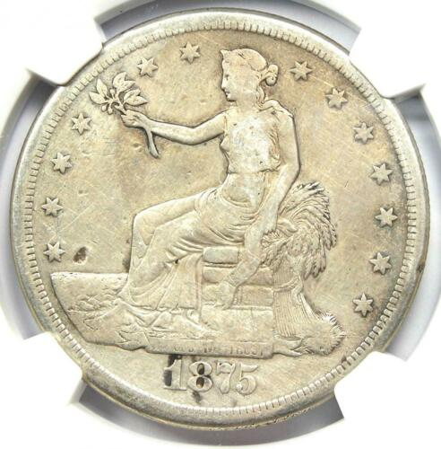 1875-S Trade Silver Dollar T$1 Coin - NGC VF Detail - Rare Certified Coin!
