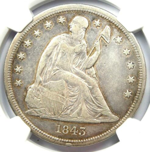 1843 Seated Liberty Silver Dollar $1 - NGC XF Details - Rare Early Date Coin