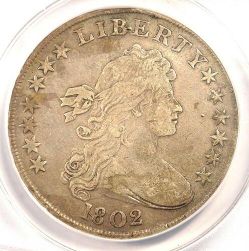 1802 Draped Bust Silver Dollar $1 Coin - Certified ANACS VF30 Details - Rare!