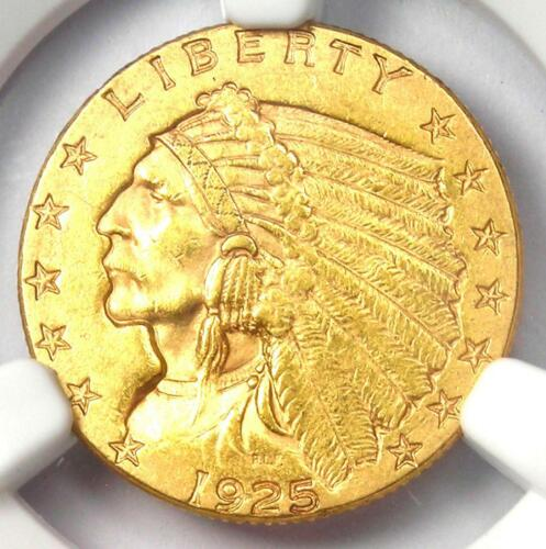 1925-D Indian Gold Quarter Eagle $2.50 Coin - NGC Uncirculated Details (UNC MS)!