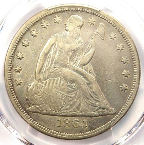 1864 Seated Liberty Silver Dollar $1 - PCGS XF Detail (EF) - Rare Civil War Coin