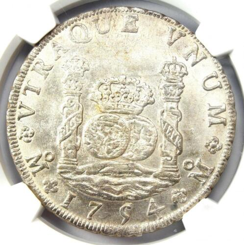 1754 Mexico Pillar Dollar 8 Reales Coin (8R) - NGC Uncirculated Details (UNC MS)