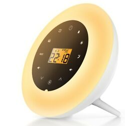Wake Up Light Sunrise Simulation Alarm Clock FM Radio White Noise Nature Sounds