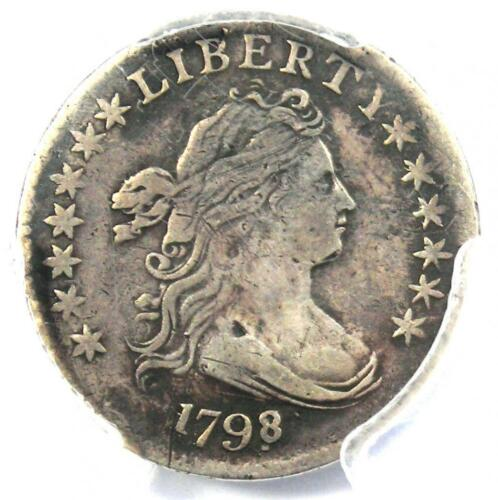 1798/7 Draped Bust Dime 10C 16 Stars - PCGS VF Details - Rare Overdate Coin!