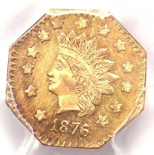 1876/5 Indian California Gold Dollar Coin G$1 BG-1128 R5 - PCGS AU Details!