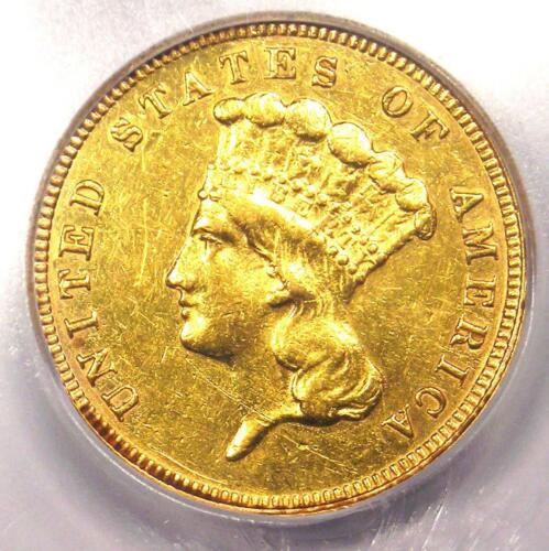 1882 Three Dollar Indian Gold Coin $3 - ICG Certified - AU Details - Rare Date!