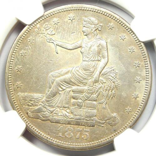 1875-CC Trade Silver Dollar T$1 - NGC AU Details - Rare Carson City Coin