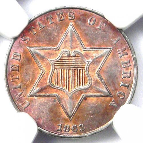 1862 Three Cent Silver Coin 3CS - Certified NGC AU58 - Rare Civil War Date!