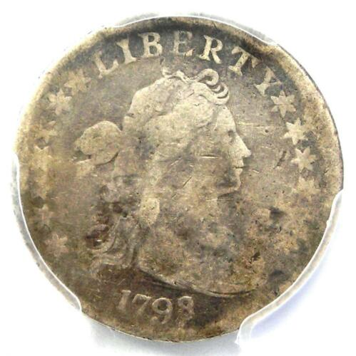 1798/7 Draped Bust Dime 10C 16 Stars - PCGS VG Details - Rare Overdate Coin!