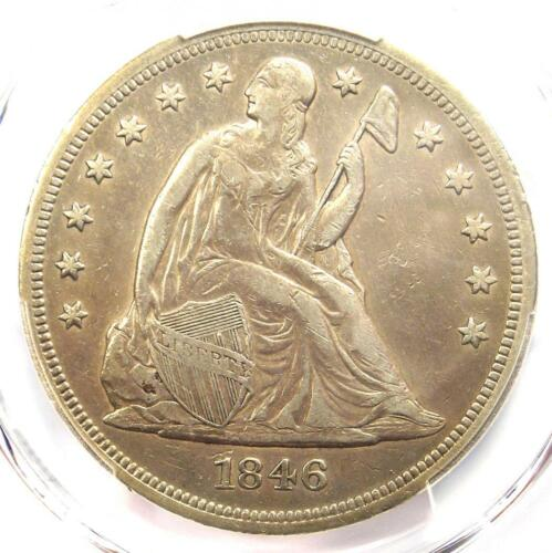 1846 Seated Liberty Silver Dollar $1 - PCGS XF Details - Rare Early Date Coin