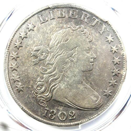 1802 Draped Bust Silver Dollar $1 Coin - Certified PCGS VF Details - Rare Date!