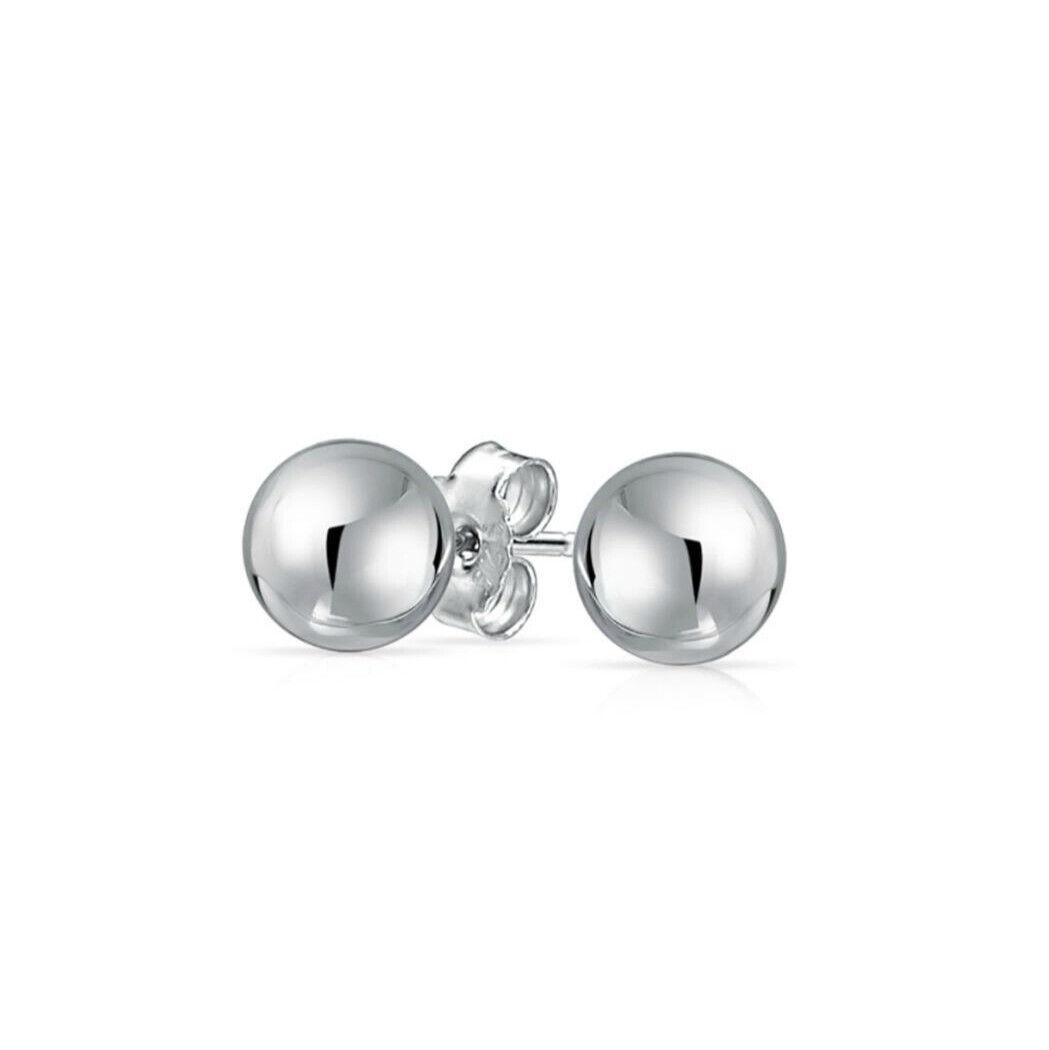 Womens 925 Sterling Silver 10mm Bead Ball Ear Stud Pierced Earrings Earrings