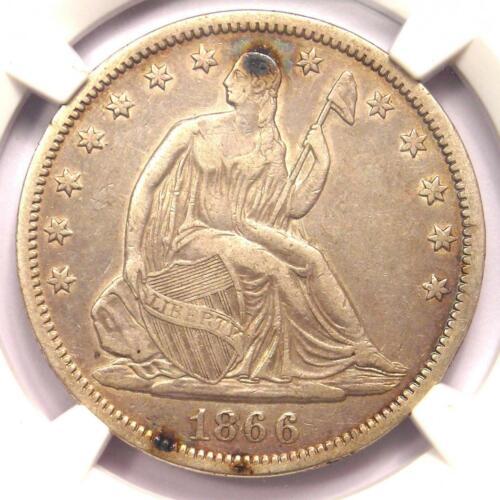 1866-S No Motto Seated Liberty Half Dollar 50C - NGC XF Detail - Rare NM Variety