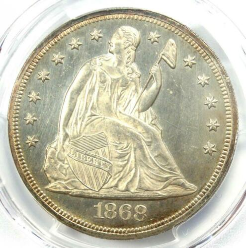 1868 Seated Liberty Silver Dollar $1 - PCGS Uncirculated Detail (UNC MS) - Rare!